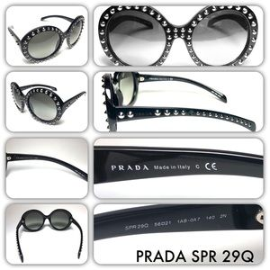 Prada SPR 29Q Black Oversized Statement Sunglasses